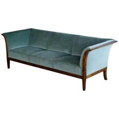 Frits Henningsen Classic Sofa in Birchwood Denmark, 1940s