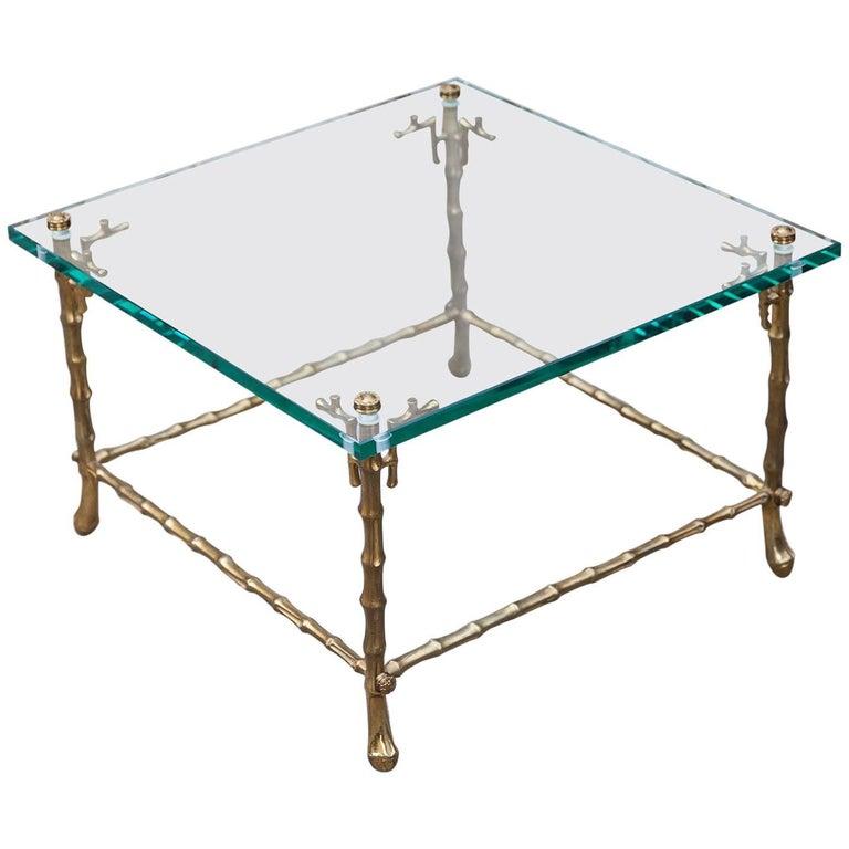 Maison Baguès Faux Bamboo Side Table, 1950s