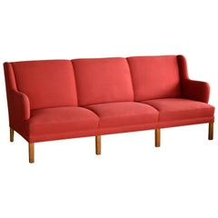 Kaare Klint Style Classic 1950 Danish Three-Seat Sofa by Master Frits Henningsen