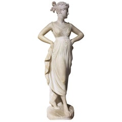 Italian Neoclassical Alabaster Sculpture of Dancer after Antonio Canova