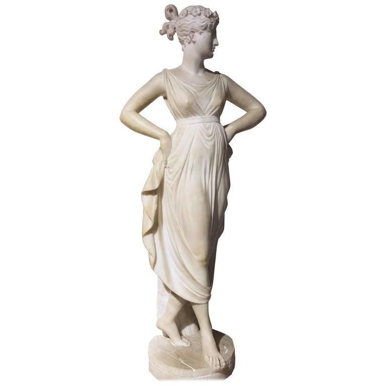 Italian Neoclassical Alabaster Sculpture of Dancer after Antonio Canova