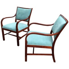 Pair of Early 20th Century Danish Modern Armchairs in Blue Suede