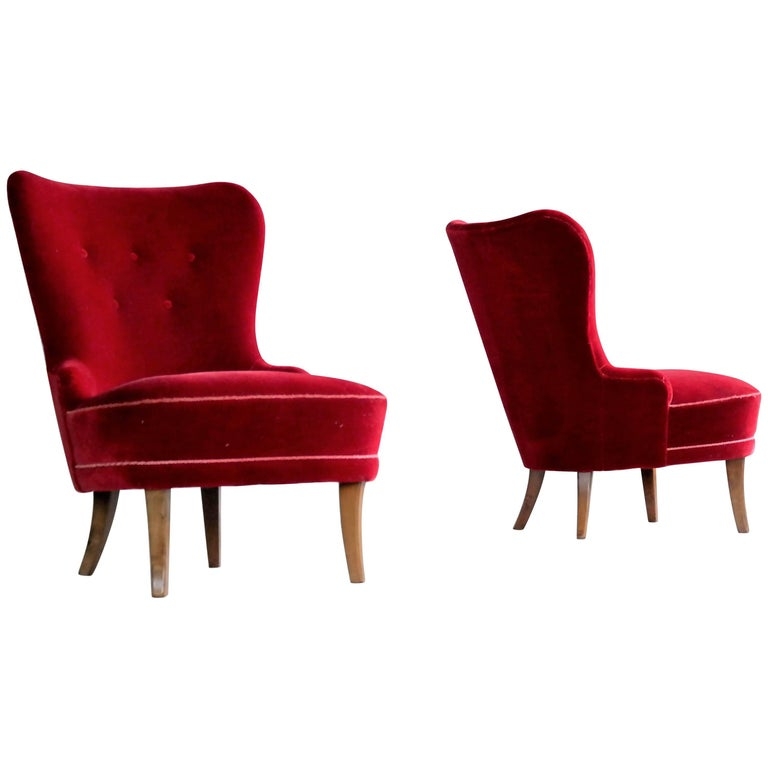 Pair of Midcentury Swedish Slipper Chairs in Mahogany and Red Velvet, circa 1950