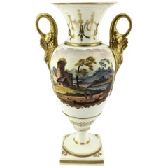 Swansea Vase with Dolphin Handles and Scene, circa 1815