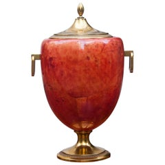 Aldo Tura Red Goatskin Ice Bucket, 1960s