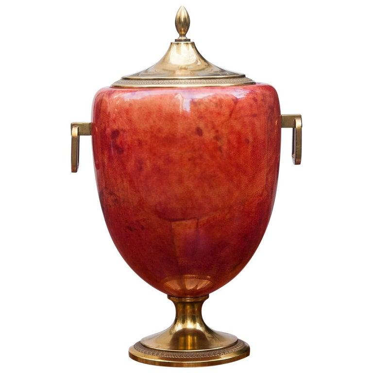Aldo Tura Red Goatskin Ice Bucket, 1960s