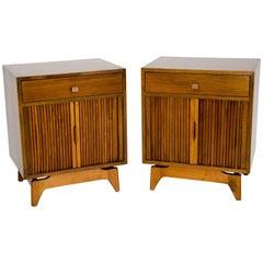 Pair of Midcentury Walnut Nightstands with Tambour Doors