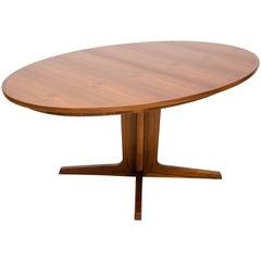 Danish Walnut Oval Dining Table Two Leaves by Bernard Pedersen