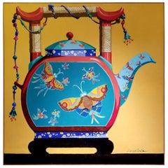 """Pop Art Painting """"The Tea Castle"""" 1970's"""