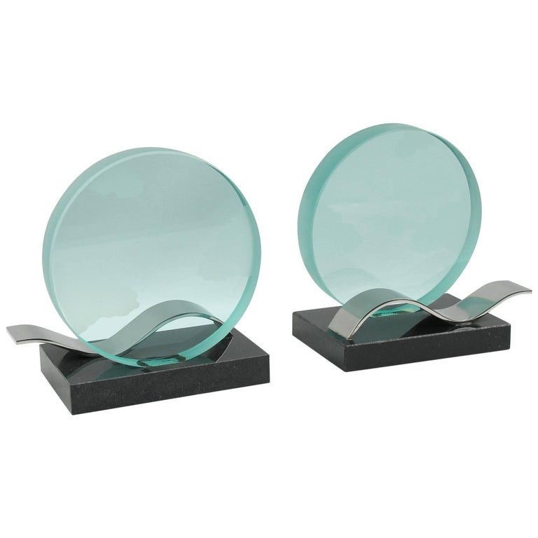 French Modernist Pair of Bookends Black Granite Glass Slab with Etching
