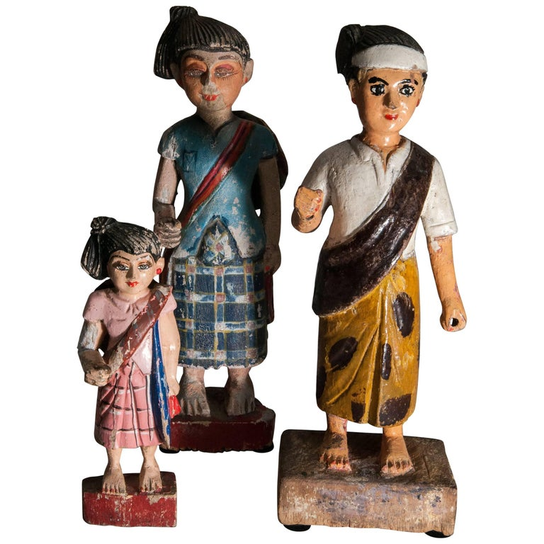 Group of Three Carved Nat Figures / Statues from Burma Painted, Mid-20th Century For Sale