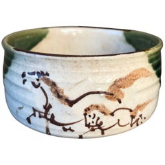 "Japan Vintage Hand-Painted Hand Glazed ""Horse Family"" Ceramic Tea Bowl"