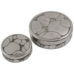René Delavan French Art Deco Dinanderie Polished Pewter Box - a pair