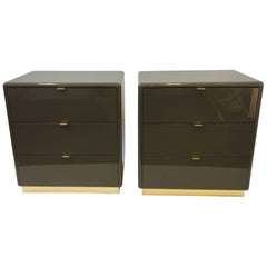 Pair of Light Brown Lacquer and Brass Nightstands by Steve Chase