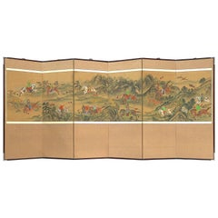 Venerable Six Fold Korean Screen Exciting Mongol Tiger Hunt-early 1900s