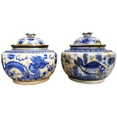 19th Century Chinese Blue and White Ginger Jars