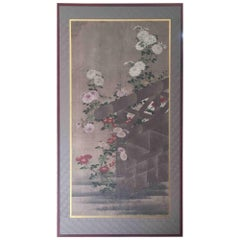 Painting of Fence and Flowers Screen Japan Panel