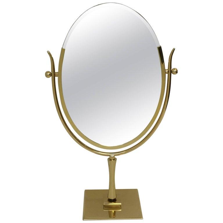 Polish Brass and Leather Vanity Mirror by Charles Hollis Jones