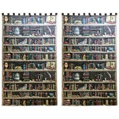 "Pair of Vintage Fornasetti, Italy ""Libreria"" Fabric Drapery Panels"