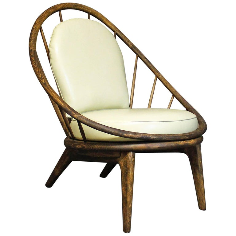 Ib Kofod-Larsen Peacock Spindle Back Lounge Chair Upholstered in Leather