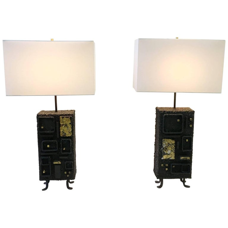 Pair of Studio Brutalist Table Lamps by John De La Rosa