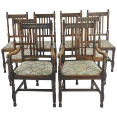 Antique Dining Chairs, 8 High Back Chairs, Oak, France, 1900 GREATLY REDUCED!!