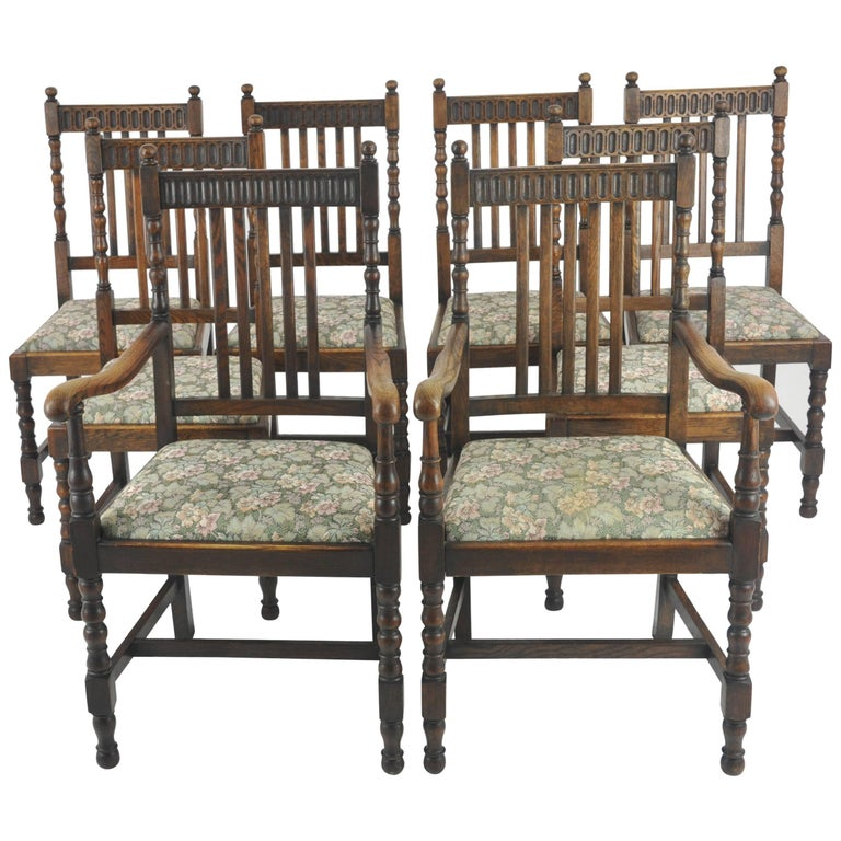 Antique Dining Chairs 8 High Back Oak France 1900 Greatly Reduced
