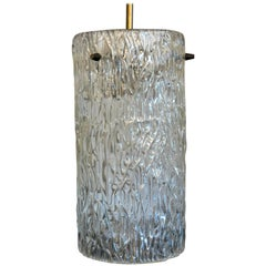 Mid-Century Modern Austrian Kalmar Textured Crystal & Brass Pendant / Chandelier