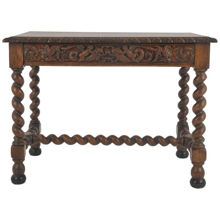 Antique Writing Table, Antique Oak Desk, Victorian, Scotland, 1870 - Antique Hall Table, Vintage Writing Table, Oak Desk, Scotland, 1910