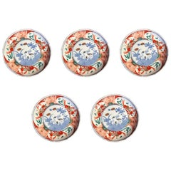 Japanese Antique Playful Rabbits Five Serving Plates & Fine Details