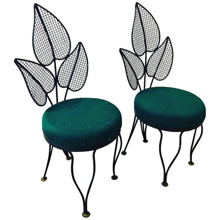 Pr Mid Century Modern John Salterini Palm Wrought Iron Patio / Garden Chairs