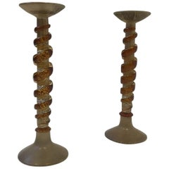 Pair of Italian Murano Glass Candlestick
