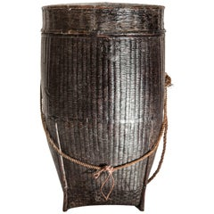 Tribal Storage Basket with Lid and Lacquer, Karen of Burma, Mid-20th Century