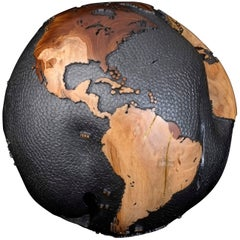 Gold Line Accents Wooden Globe, Steel Hammered and Graphite 30cm, Saturday Sale