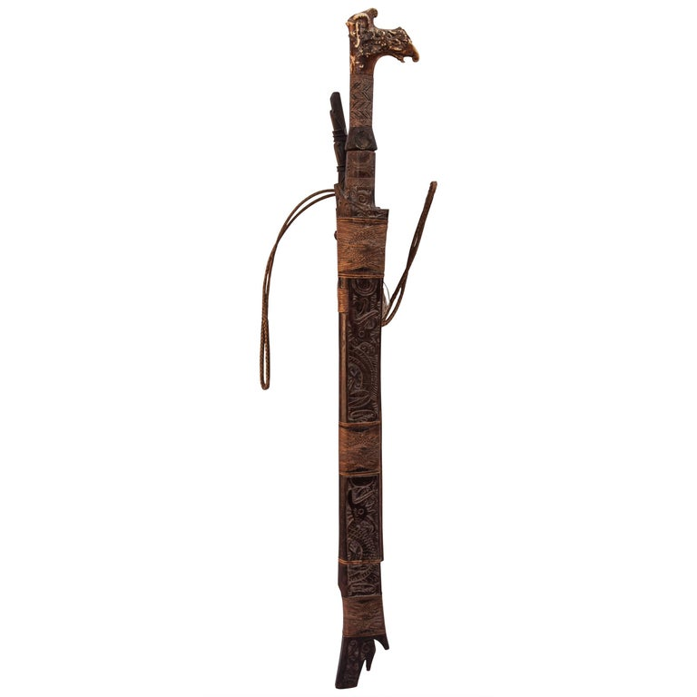 Tribal Mandau Sword with Scabbard from the Dayak of Borneo, Early 20th Century