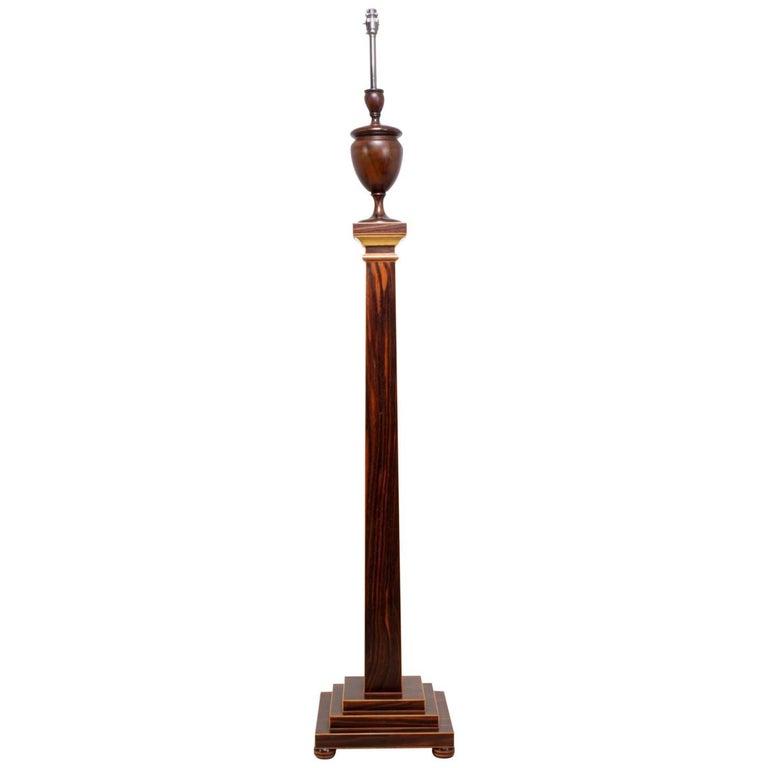Art Deco Standard Lamp in Macassar Ebony