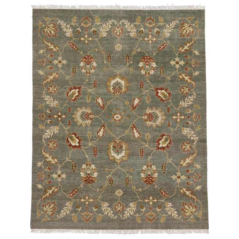 Contemporary Indian Rug With Floral Pattern And