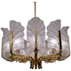 Carl Fagerlund Orrefors Chandelier Glass Leaves & Brass, 10-Light, circa 1960s