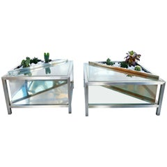 Set of Two French Planter Side Table or Coffee Table, circa 1970