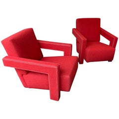 Pair of 637 Utrecht Armchairs by Rietveld for Cassina, Italy, 1980s
