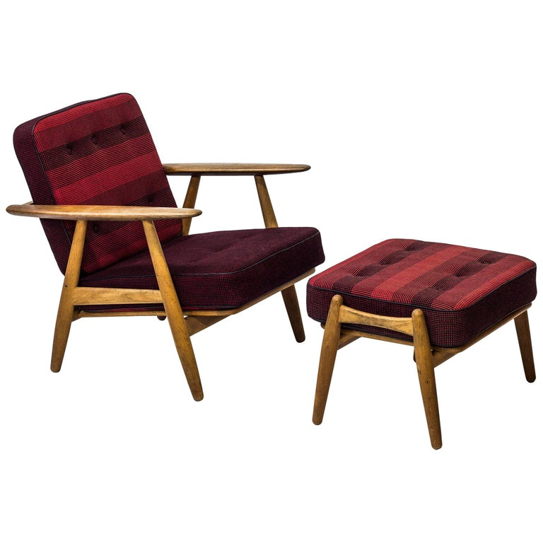 GE-240 Easy Chair and Ottoman by Hans J. Wegner For Sale
