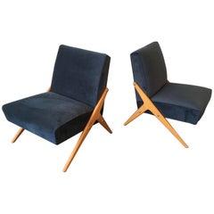 Wonderful Pair of Italian Lounge Chairs Attributed to Mario Gottardi