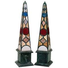 Pair of Green Serpentine Marble Obelisks with Lapis Lazuli Inlay Mosaic