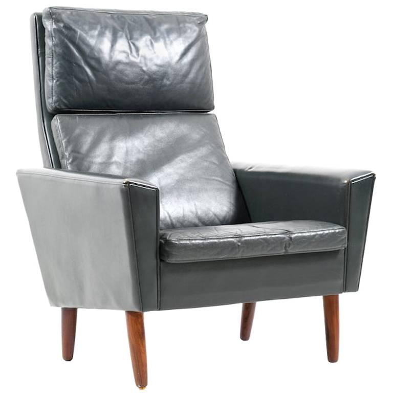 1960s Danish Dark Green Leather Lounge Chair For