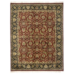 Vintage Traditional Indian Area Rug with Persian Design and Manor House Style