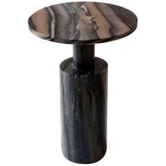Dark Plateau Side Table in Molten Black Marble by Raw Material
