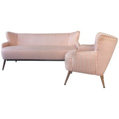 Set of 1950s Lounge Cocktail Chair and Sofa