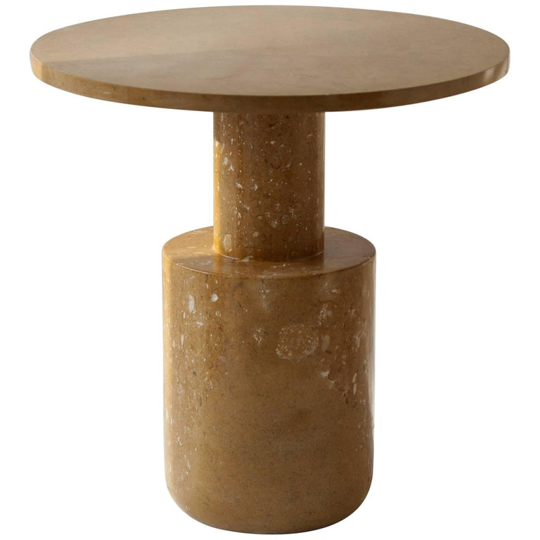 Contemporary Sienna Plateau Edition Cocktail Table in Dune Yellow Marble