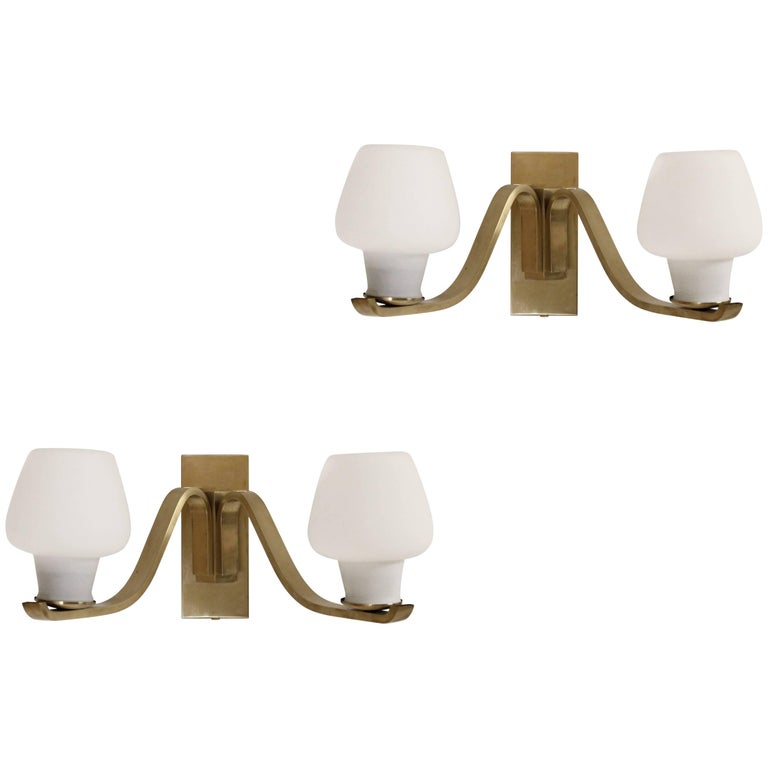 Pair of Large Wall Lights in Brass by Fog & Mørup, Denmark, 1950s