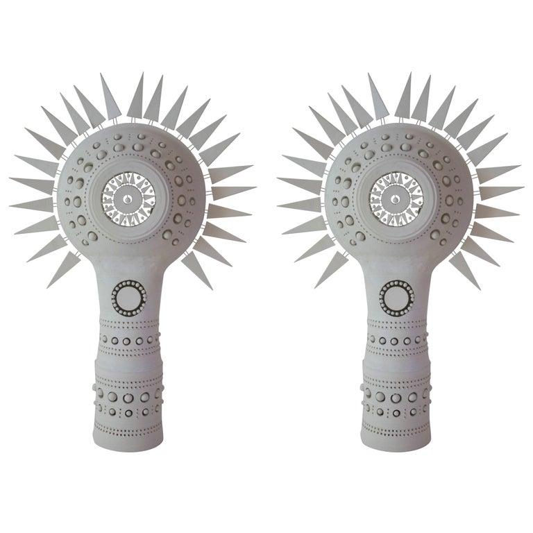 Georges Pelletier, Pair of Sun Lamps, Unglazed Ceramic, circa 1970, France